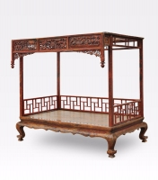 Chinese Carved and Lacquered Canopy Bed, Qing Dynasty